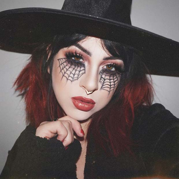 Stylish Witch Makeup With Spider Webs