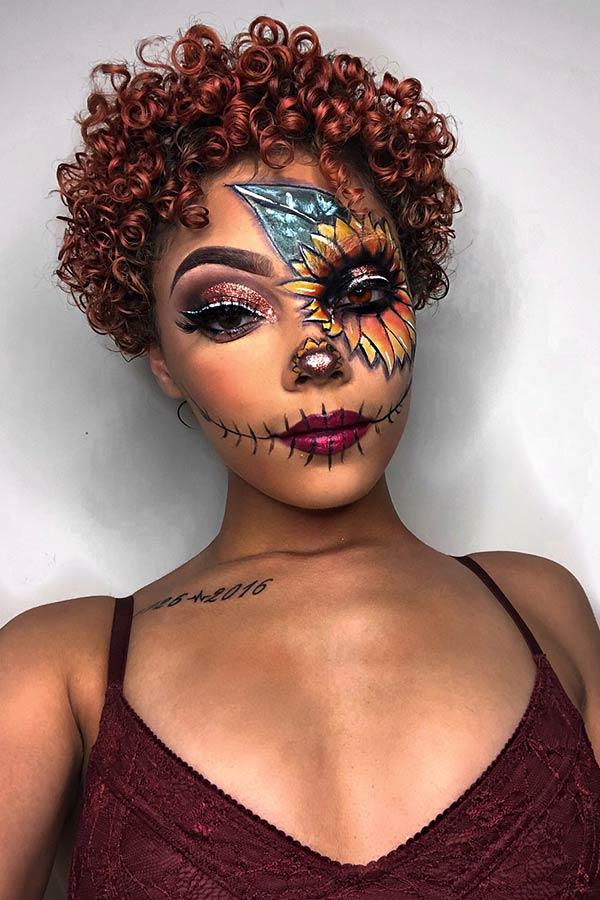 Sunflower Scarecrow Makeup