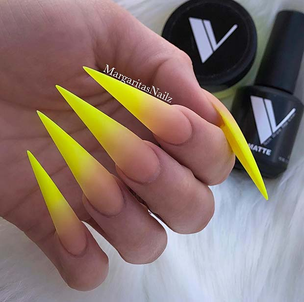 Ombre Yellow Stiletto Nails