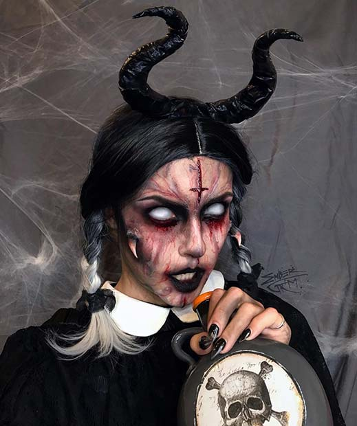 Terrifying Makeup with Horns and a Cross