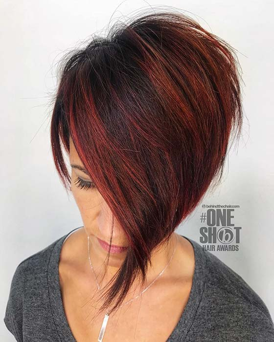 Trendy Short Cut with Red Highlights