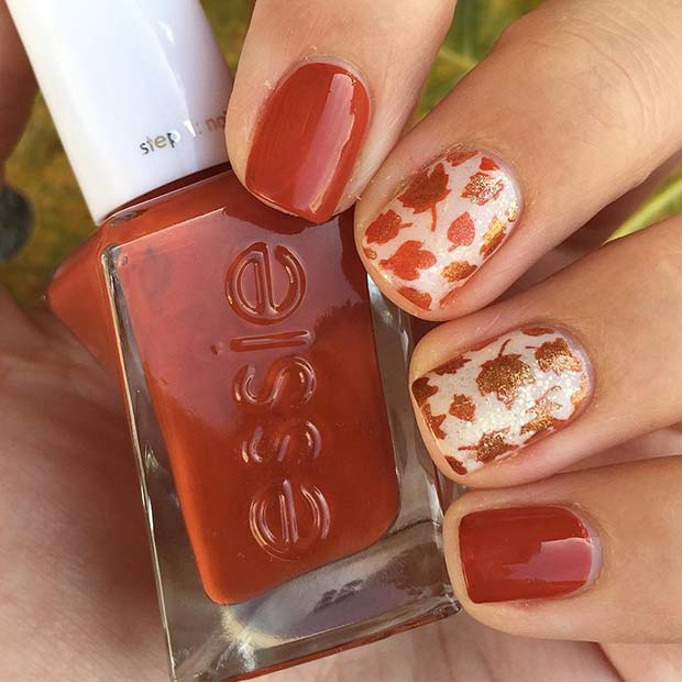Trendy Orange Nails with Fall Leaves