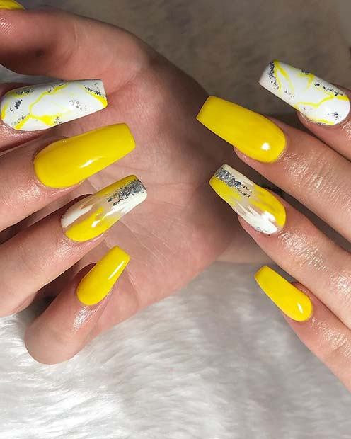 Trendy Yellow Nails with Marble Nail Art