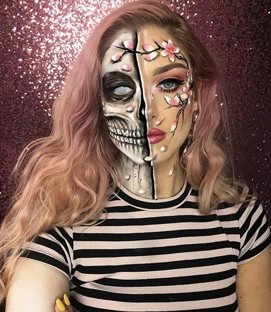 Floral Skeleton Makeup Idea