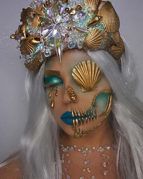 Mermaid Skull Makeup Idea