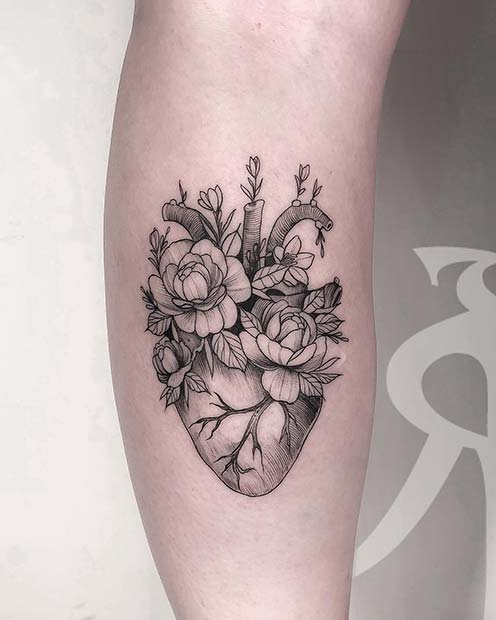 Unique Peony and Heart Tattoo