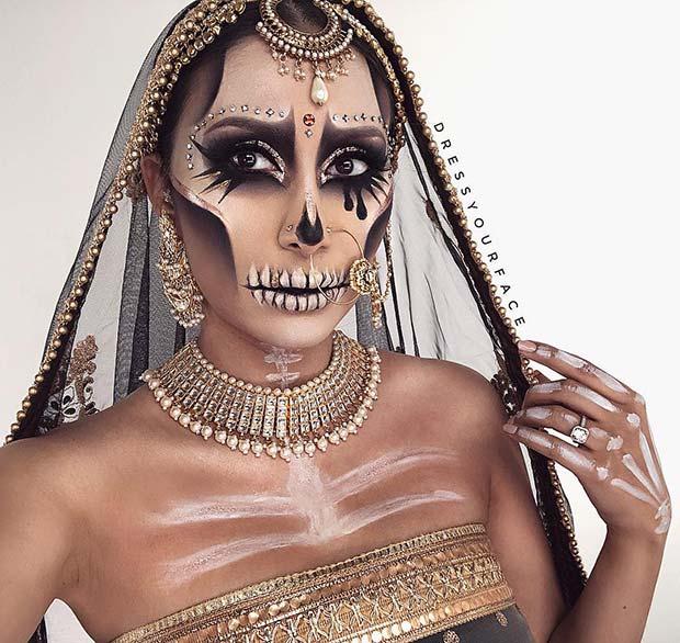 Unique Skeleton Makeup Idea