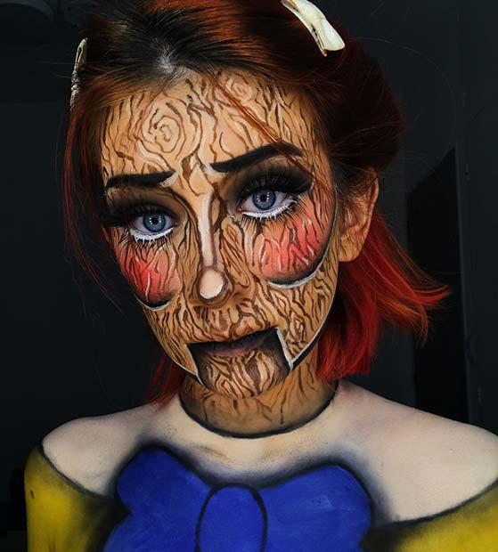 Unique Wooden Doll Makeup