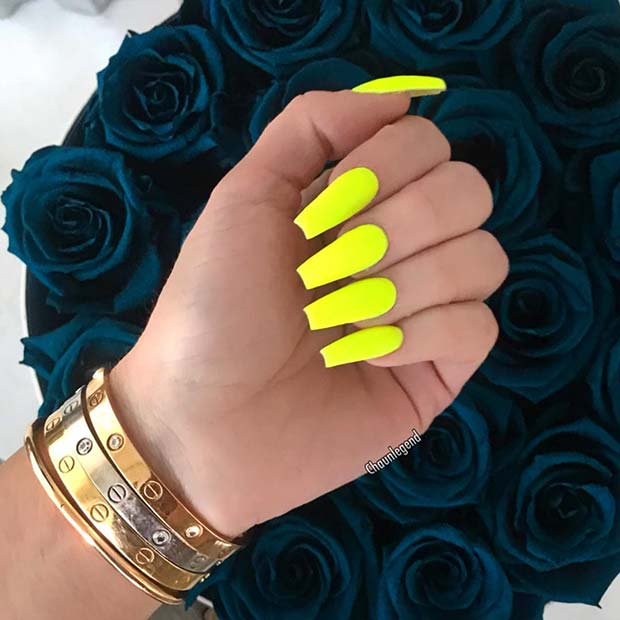 Matte Neon Yellow Nails