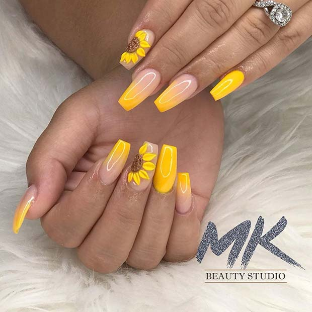 Yellow Sunflower Nails