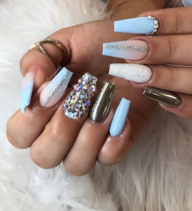 23 Stunning Ways To Wear Baby Blue Nails Stayglam French nails decorated with big rhinestones.