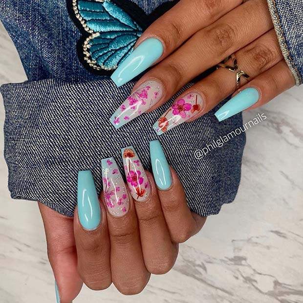 Baby Blue Nails with Floral Accent Art