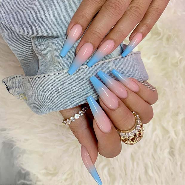 Baby Blue and Nude Ombre Nails