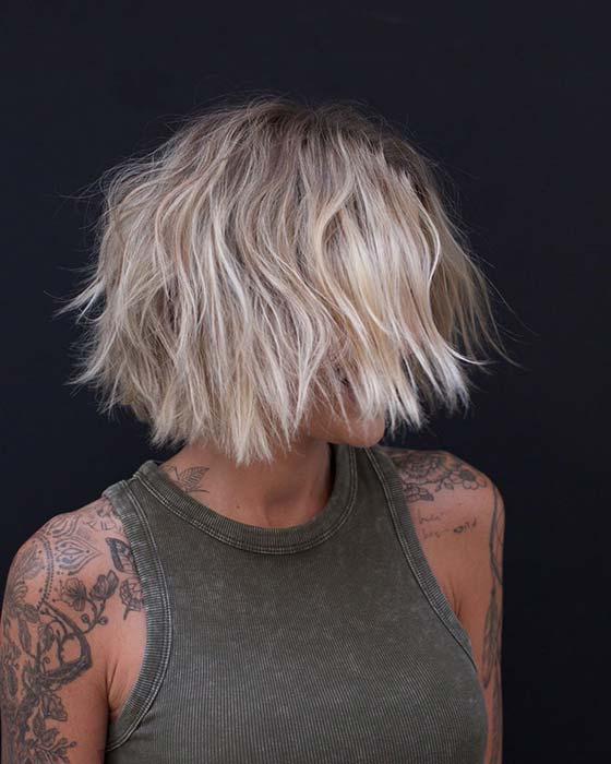 Layered Blonde Short Bob Haircut