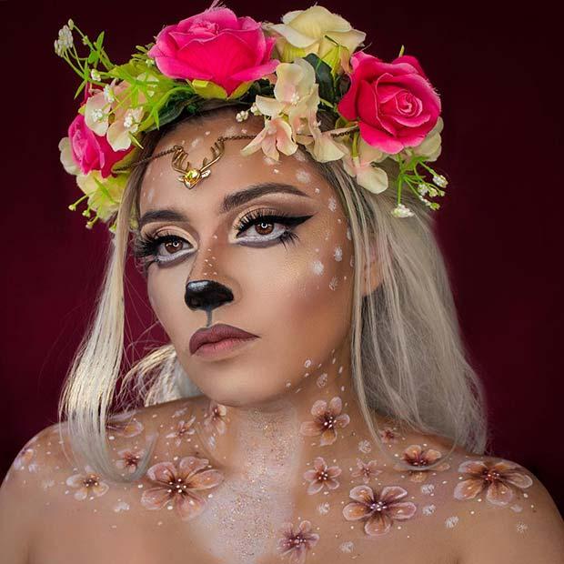 Beautiful Deer Makeup with Floral Crown