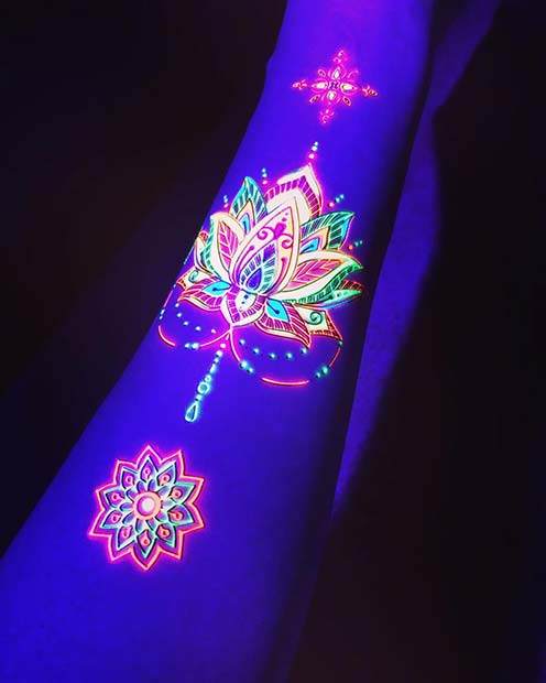 Beautiful UV Patterned Lotus Tattoo Idea