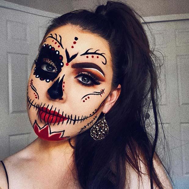 Beautiful Sugar Skull Makeup Idea