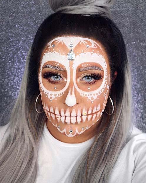 Beautiful White Lace Sugar Skull Makeup