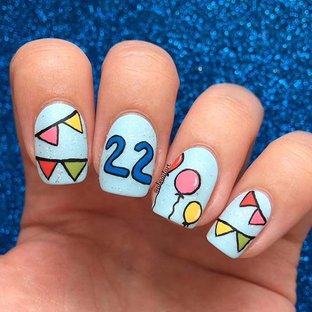 Birthday Nail Art with Balloons and the Age