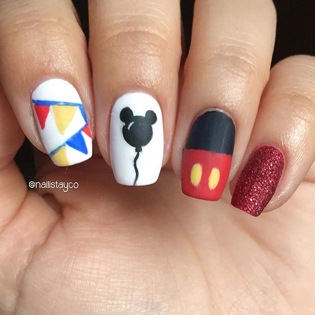 Birthday Nails with a Disney Theme