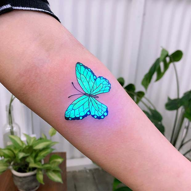 Blue Butterfly UV Tattoo