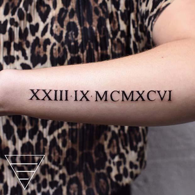 Bold Roman Numerals Tattoo