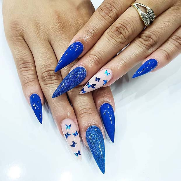 Blue Stiletto Nails with Butterflies