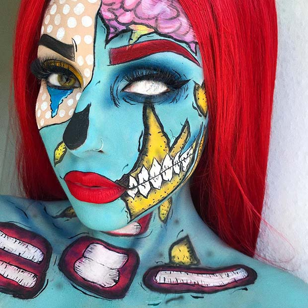 Bright and Bold Pop Art Zombie Makeup