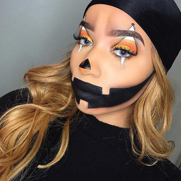 Candy Corn Pumpkin Makeup