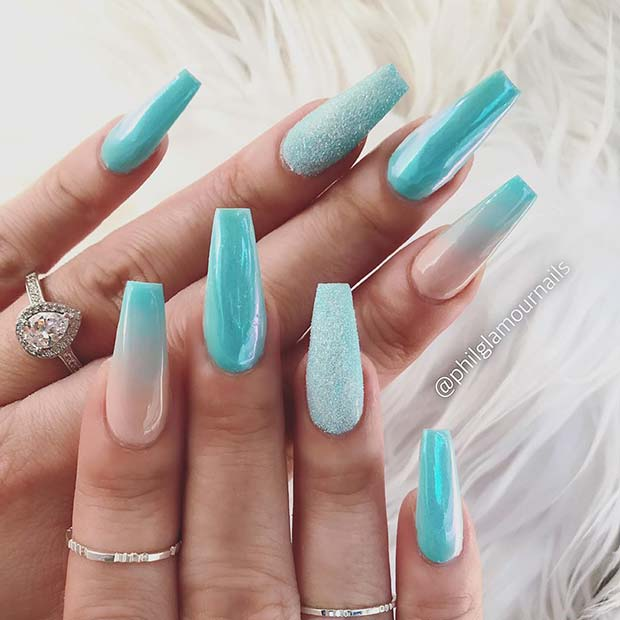 Chic Baby Blue Coffin Nails