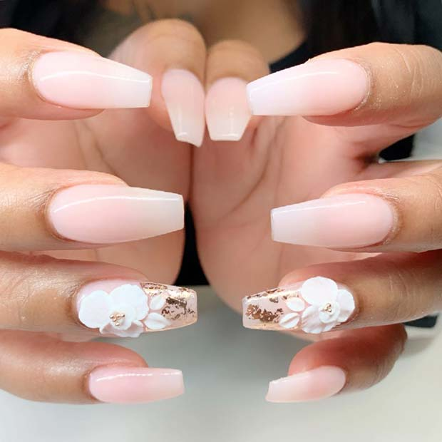 Chic Ombre with Cute Flower Accent Nail