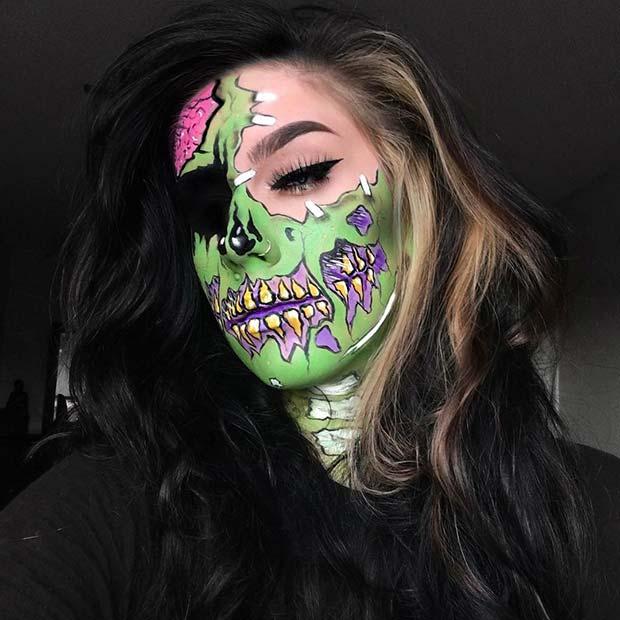 Colorful Pop Art Zombie Makeup