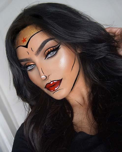 Cool Comic Book Style Wonder Woman Makeup