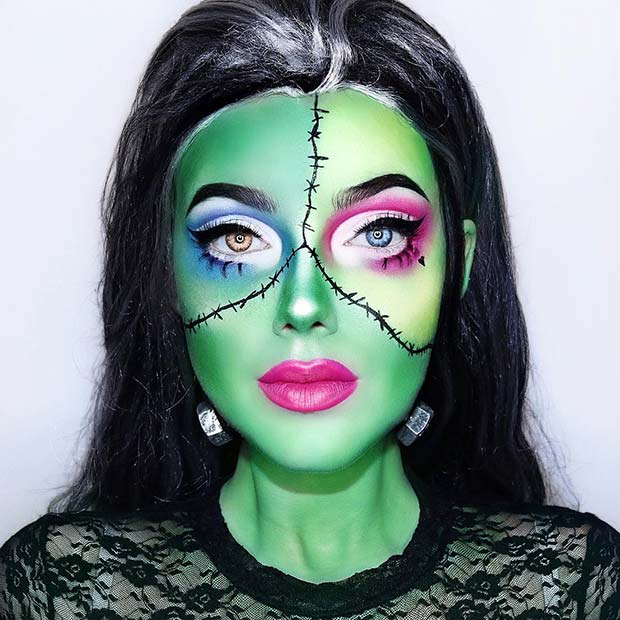 Cute and Creative Frankenstein Inspired Makeup