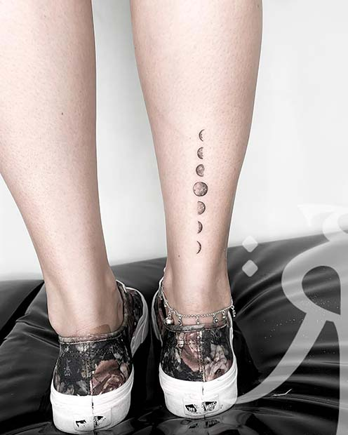 Crescent to Full Moon Leg Tattoo
