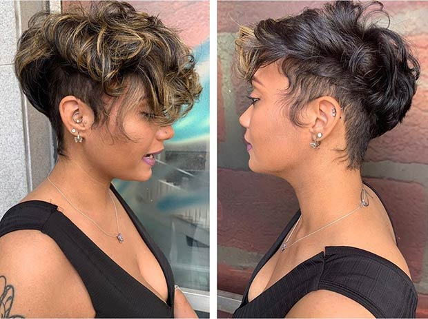Curly Pixie Cut with Blonde Highlights