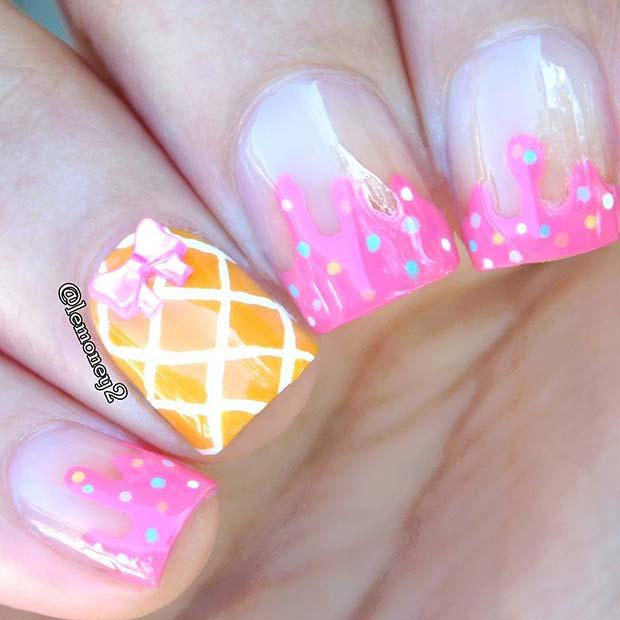 Cute and Fun Ice Cream Nail Art