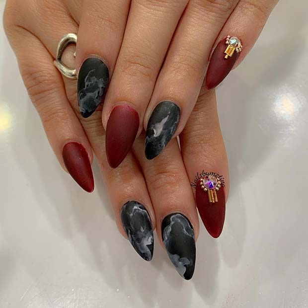 Dark Red Nails with Marble Nail Art