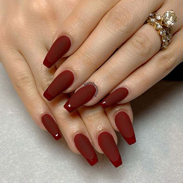 Deep Red Matte Nails with Glossy Tips