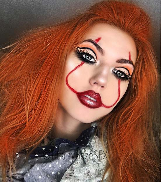 Easy Pennywise Makeup Idea