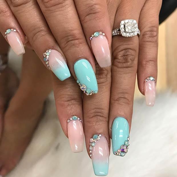 Elegant Baby Blue Nails with Rhinestones