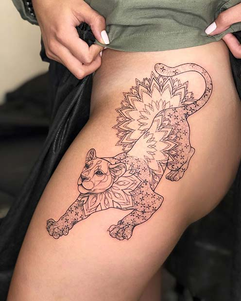 Fierce Lioness Tattoo Design