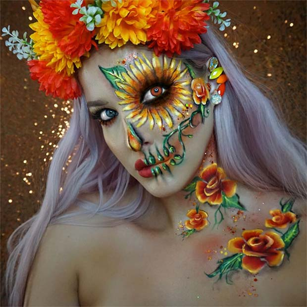 Floral Sugar Skull Makeup