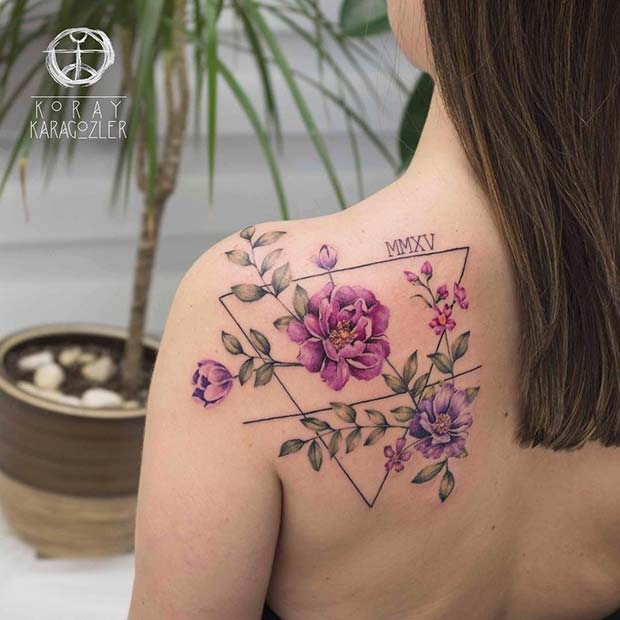 Floral Tattoo with Roman Numerals