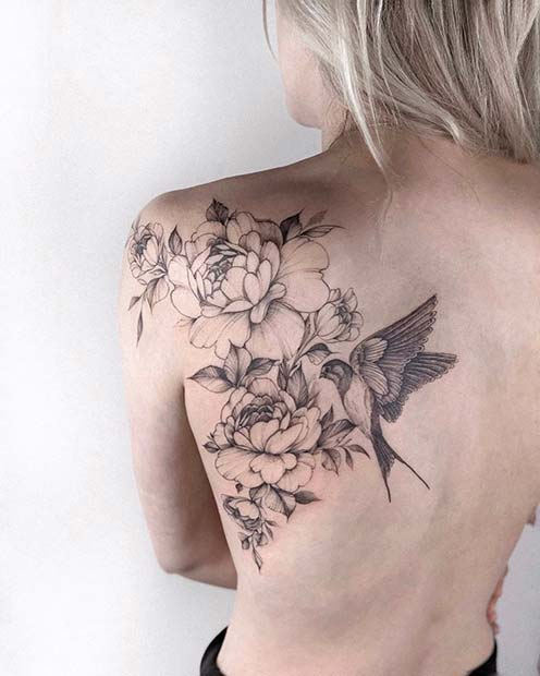 Flower and Bird Tattoo Idea