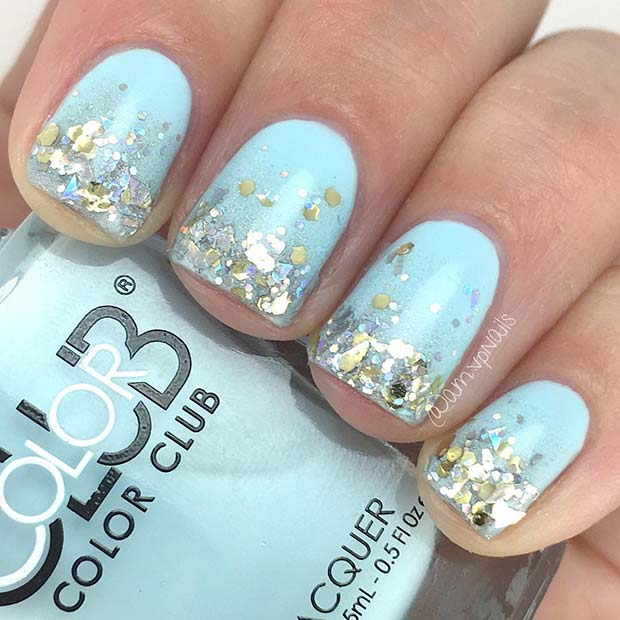 Glam Blue and Silver Glitter Nail Idea