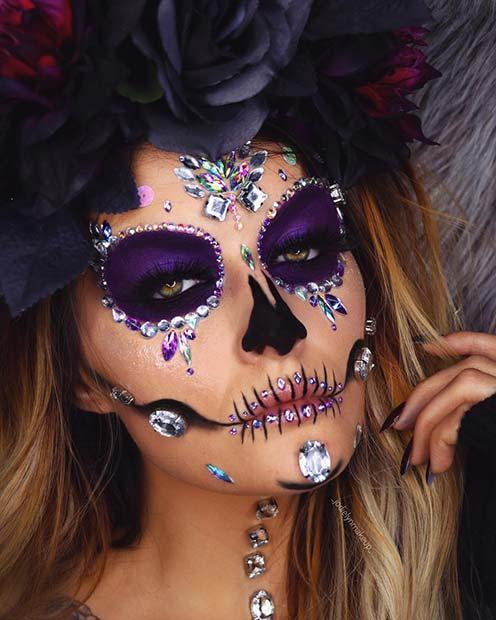 Glam Sugar Skull with Rhinestones