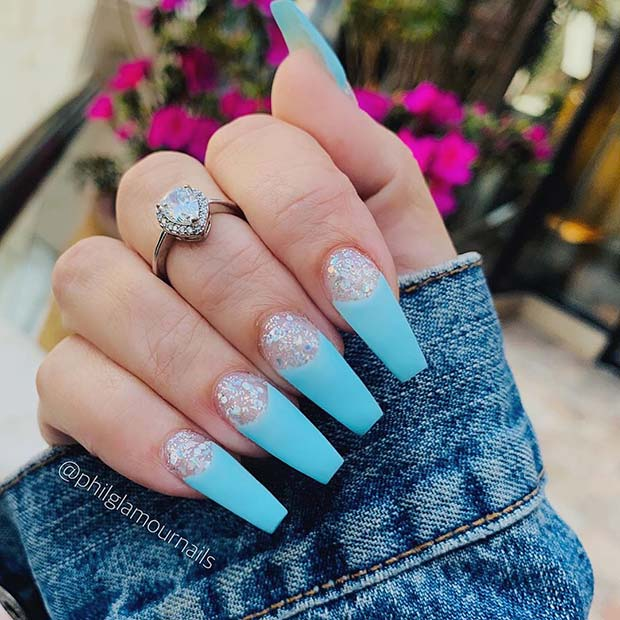 Glitter Nails with Baby Blue Tips