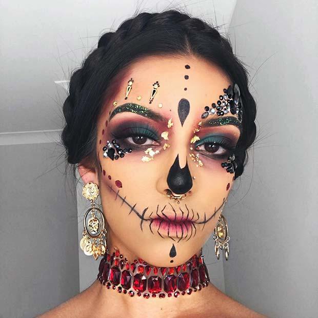Glitzy Skull Makeup with Rhinestones