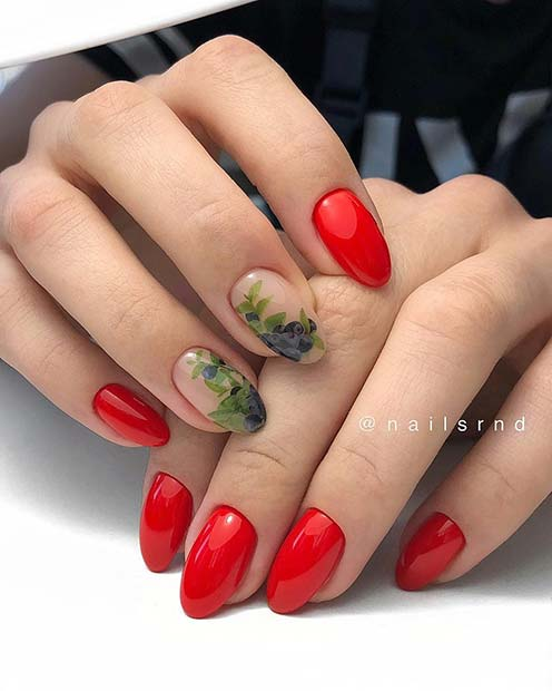 Glossy Red Nails with Fruity Nail Art